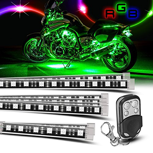 8 piece Motorcycle LED Lights Kit Strip/Multi-Color Accent/Glow LED Strip Lights/Motorcycle LED Flexible Lights Kit Strip with Remote Controller for Harley Honda Kawasaki Suzuki Ducati Polaris KTM BMW