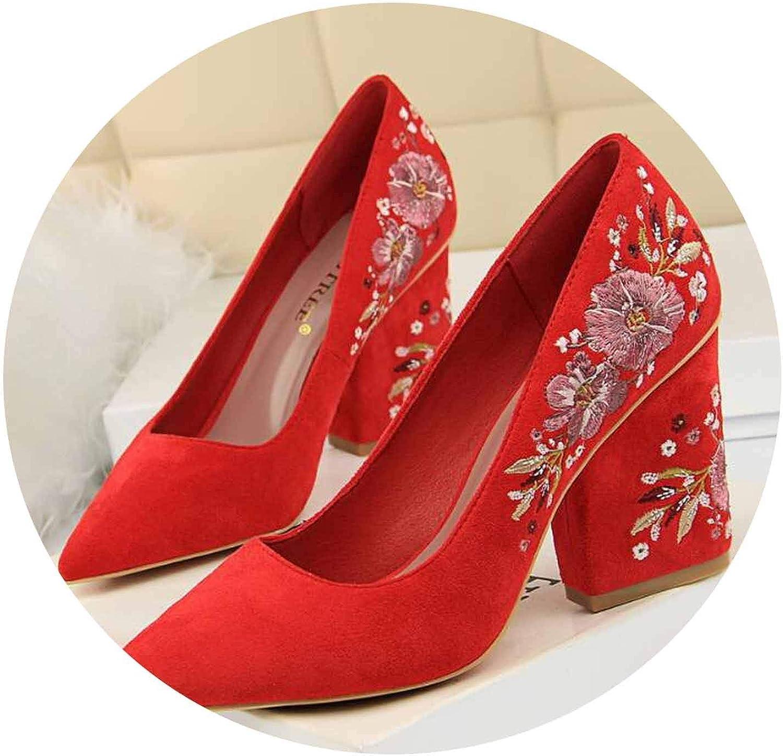 Embroider Women Pumps High Heels Pointed Toe Women High Heels Wedge shoes Women