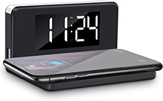 Digital Alarm Clock with Wireless Charger, YPLANG Digital Alarm Clock with Adjustable Brightness, Ringtones, Bedside Alarm Clocks with Snooze for Bedroom, Kitchen, Office