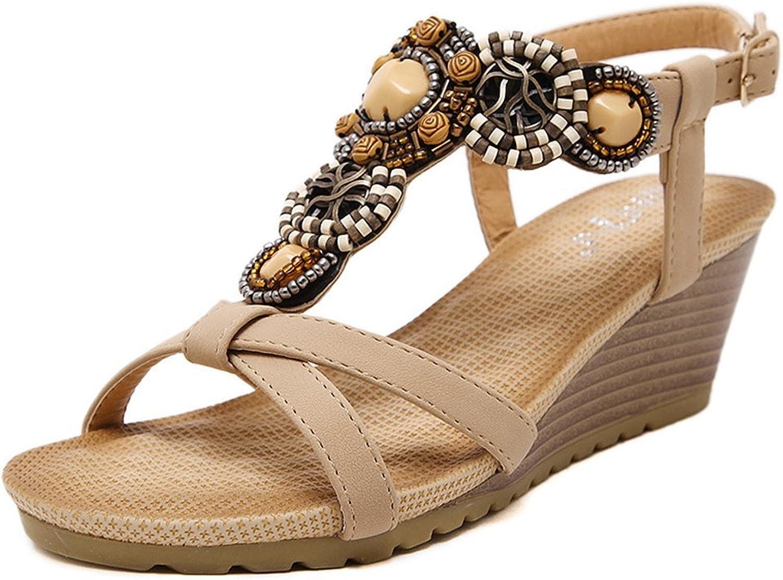 AVENBER Women's Mid Heels Wedges Summer Sandals Bohemian Gladiator Adjustable Buckles Straps Platform shoes