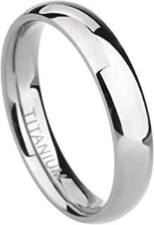 TIGRADE 2mm/4mm/6mm/8mm Titanium Ring Plain Dome High Polished Wedding Band Ring Comfort Fit Size 4-15