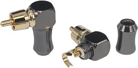 [2Pcs 90° Angle] Hi End RCA Male Plug Adapter Audio Phono Gold Plated Solder Connector KK-01