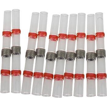CAMWAY 50 x Red Heat R/étractable Soudure Manchon Splice Connecteur Doubl/é Adh/ésif Bornes bout /à bout Connecteurs non sertis Connecteurs Jauge 22-18