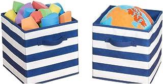 mDesign rangement jouet (lot de 2) – boîte de rangement tissu carrée pour la chambre d'enfant ou la chambre à coucher – pa...