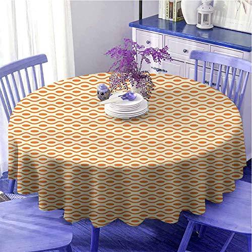 Mantel redondo geométrico de cocina con líneas curvadas y espirales de puntos ornamentales horizontales de la ilustración Diseño único Diámetro 129,5 cm Amarillo pálido Naranja
