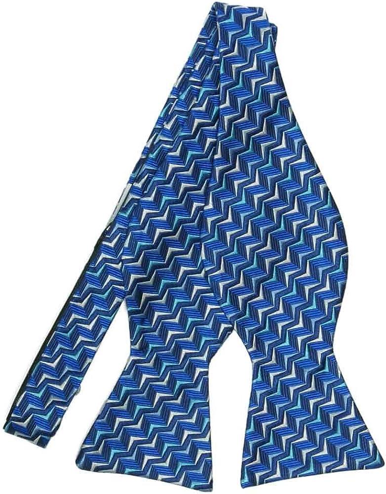 TieMart Regent Morris Neckwear Royal Blue Operator Geometric Silk Self-Tie Bow Tie