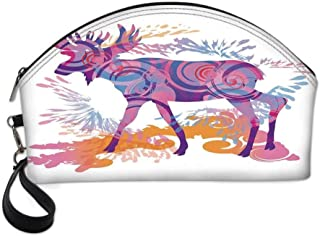 Moose Decor Small Portable Cosmetic Bag,Unusual Deer Figure with Trippy Featured Color Effects Digital Vivid Display For Women,One size