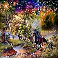 大人のためのジグソーパズル4000ピース、川沿いの黒い馬すべてのジグソーパズルはユニークで、厚くて丈夫なピースで完璧にカットされています