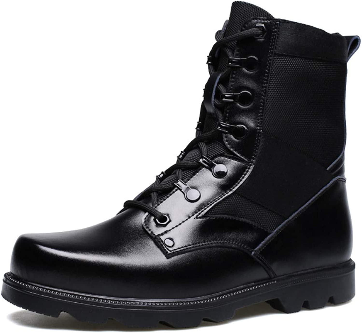 DANDANJIE Mens Combat Boots Fall Winter Boots British Style Boots Black Walking shoes Booties