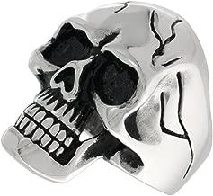 Sabrina Silver Stainless Steel Skull Ring Cracks on Forehead and Sides Biker Rings for Men Sizes 9-15