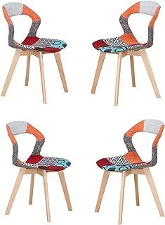 Juego de 4 sillas de comedor de plástico con respaldo hueco, sillas de oficina, salón, cocina, sillas con patas de madera, sillas de cocina, comedor, sala de estar, jardín, oficina, cafés con respaldo