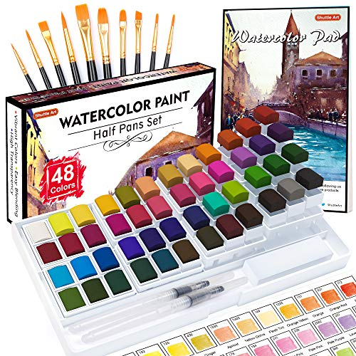 Watercolor Paint Set, Shuttle Art 48 Colors Watercolor Paint in Half Pans with 2 Water Brush Pens, 10 Paint Brushes, 1 Watercolor Pad, 1 Palette, 2 Color Charts, Watercolor Kit for KidsAdults, Artists