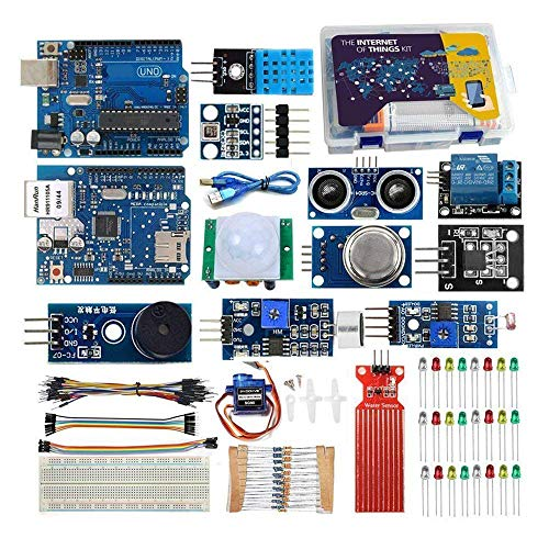 REES52 IOT Kit for Arduino Iot Projects with Tutorial, Uno R3 Board, W5100 Ethertnet Shield, Android/iOS Remote Control Internet of Things Kits { Arduino IOT Starter Kit } -KT1058