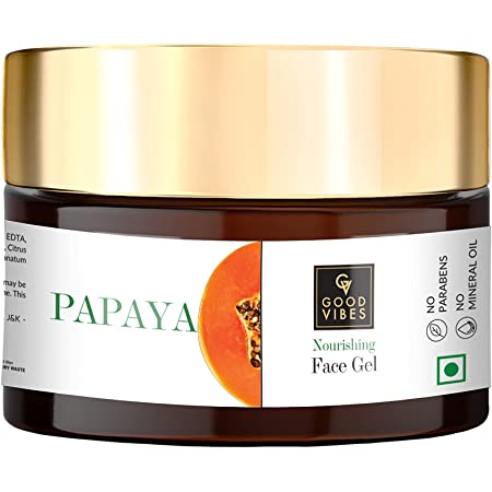 Good Vibes Papaya Face Gel 50 g, Skin Nourishing Moisturizing Light Weight Formula, Helps Reduce Wrinkles & Acne Breakouts for All Skin Types, Natural, No Parabens & Sulphates, No Animal Testing