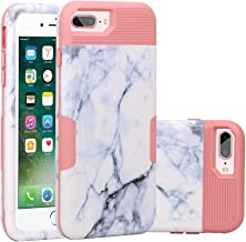 iPhone 6 Plus Case/iPhone 6s Plus Case, White Marble Design, SUMOON Anti-Scratch & Shock-Proof Hybrid Hard PC + Soft Silicone Cover for Apple iPhone 6 Plus (2014)/iPhone 6s Plus (2015) Pink