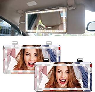 Car Visor Vanity Mirror Car Makeup Mirror with Led Lights,Led Light Mirror A Visor Vanity Mirror with Lights Rechargeable ...