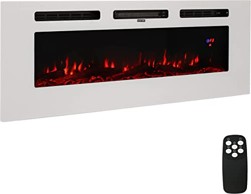"""2021 Sunnydaze Sophisticated Hearth 50"""" Indoor Electric Fireplace - LED Electrical outlet sale Fireplace Heater - Wall-Mounted or Recessed Installation - 3 Color Options for online Flames - White outlet sale"""