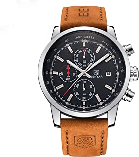 Men Watch Quartz Chronograph Date 3ATM Waterproof Watches Business Sport Design Leather Strap Wrist Watch for Men Father