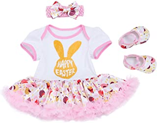 Fairy Baby 3Pcs Baby Girls Easter Outfit Clothes Set Bunny Bodysuit Tutu Lace Skirt Set