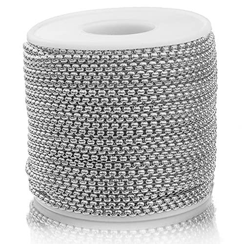 PJ1 2M Acero inoxidable 2 mm 3 mm Cadenas de oro para el collar de bricolaje Pulsera de la pulsera que hace las joyas que fabrican suministros al por mayor lotes a granel Tl0622 ( Color : Steel 3mm )