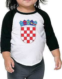 Coat of Arms Croatia Kids Raglan T Shirts Baseball 3/4 Sleeves for Boys Girls