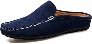 HaiNing Zheng Drive Loafer for Men Half Slip on Slipper Boat Shoes Suede Leather Stitching Whippersnapper Antislip Moccasin (Color : Blue, Size : 8 UK)