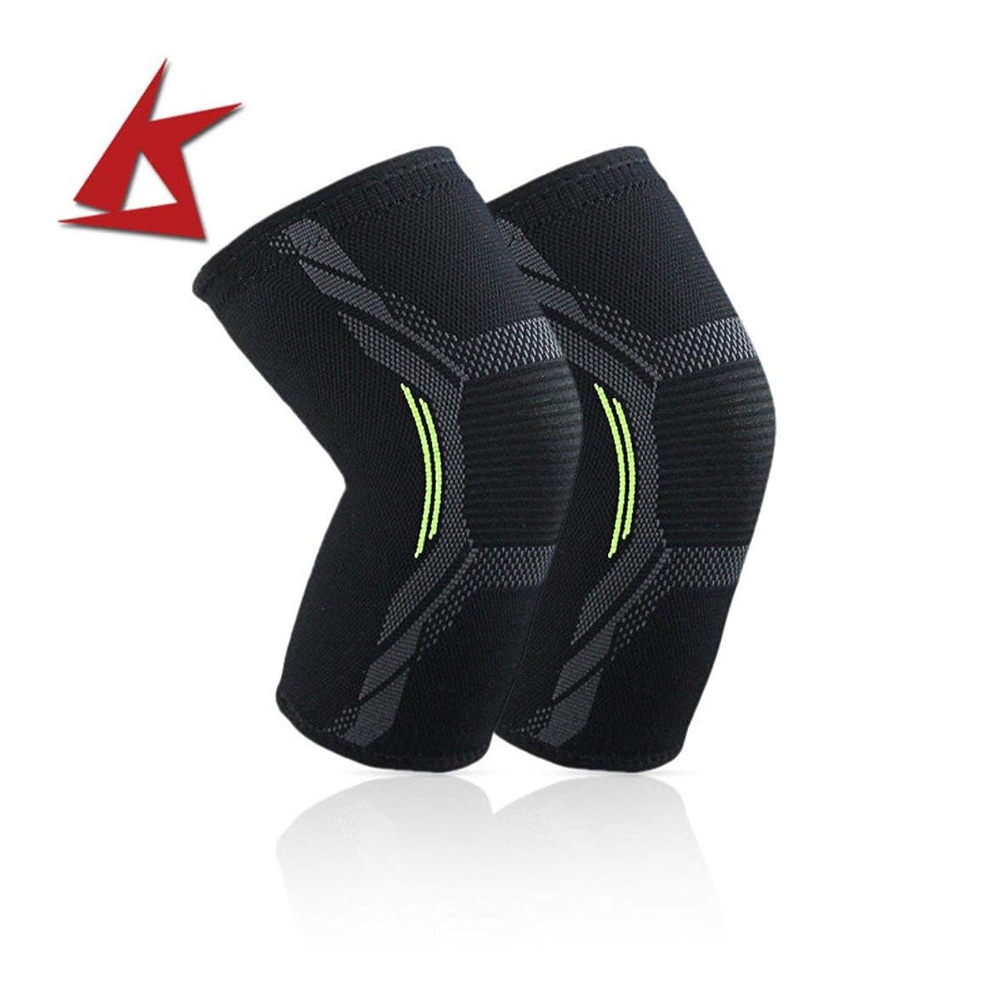 おんどりがんばり続けるメガロポリスニット膝パッド耐久性のあるナイロン膝ブレーススポーツ保護パッド超薄型膝サポート安全膝パッド - ブラックL