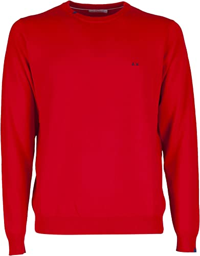 SUN68 - Round Neck Solid - rouge