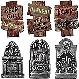ALINILA Piedra sepulcral de Halloween * 3 Señal de Advertencia * 3, para...