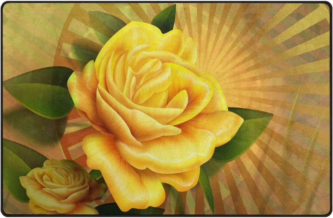 Polyester Yellow 定価の67%OFF Rose Area Rug Rugs Mat Living Floor 高価値 Non-Slip Di