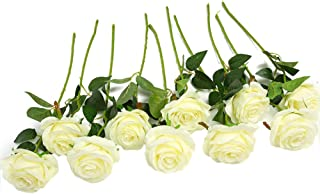 JUSTOYOU - Ramo de rosas artificiales de seda (10 unidades) blanco