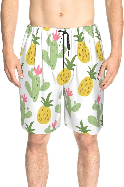 JINJUELS Mens Swim Trunks Pineapple Cactus Beachwear Board Shorts Fast Dry Fashion Summer Boardshorts with Lining