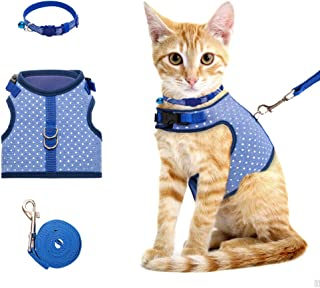 BINGPET Cat Harness and Leash for Walking Escape Proof, Adjustable Pet Harness for Small, Medium Large Cats with Collar