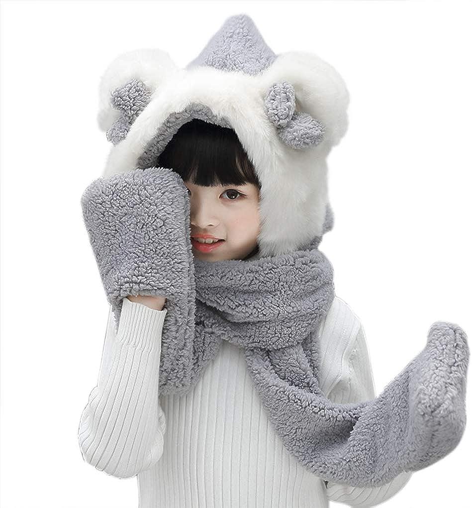 Kids Toddler Cartoon Fleece Hat Gloves Scarf 3 in 1 Set Girls Boys Winter Cute Warm Long Hoodie Earflap Hat