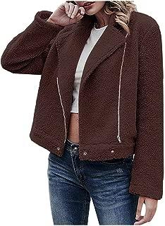 MEEYA Casual Lapel Side Zipper Coat Warm Outwear for Women Winter, Ladies Solid Coat Overcoat