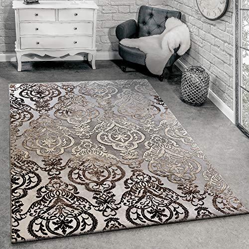 Alfombra De Diseño Moderna para Salón con Dibujo Ornamental Gris Jaspeada, tamaño:120x170 cm