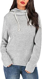Women's Solid Baggy Long Sleeve Knit Pullover Hooded Sweatshirts Top