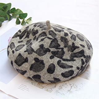 SHENTIANWEI Hat Female Winter Fashion Vintage Leopard Print Beret hat Korean Wild Bud British Literary Painter Cap (Color : Grey, Size : Adjustable)