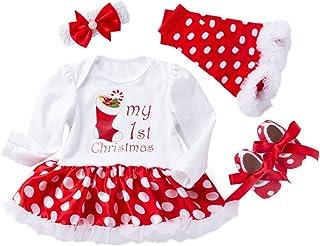 FIRSS-Mädchen Baby Kleidung Set Mädchen Weihnachten Bekleidungsset My First Christmas Drucken Strampler Prinzessin Tütü Rock BeinwärmerStirnbänderSchuh 4pcs Fotoshooting Kostüm