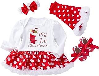 Onefa 4PCS Newborn Baby Girls Tutu Dress Princess Christmas Letter Print Outfits Set