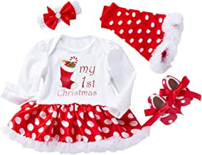 PLENTOP 4PCs Baby Girls Christmas Costume Romper Bodysuit Tutu Dress+ Leg Warmer +Shoes+ Headband