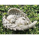 GSJDD Estatua de Perro/Gato, esculturas de jardín y estatuas, alas de ángel para Dormir Perro/Gato Memorial Estatua Resina doméstico Domicilio decoración de Oficina, alas Animales jardín-Dog