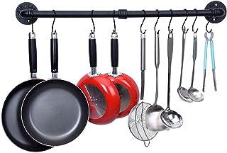 Soporte de pared para ollas, estante para utensilios de cocina con 10 ganchos, organizador de ollas y sartenes para colgar, espátula para colgar