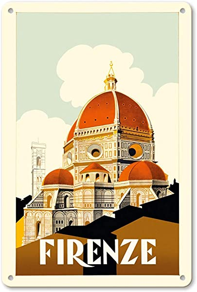 Bruyu5se Aluminum Sign Metal Sign 7 X 10 Vintage Tin Sign Florence Firenze Italy Santa Maria Del Fiore Cathedral The Duomo Of Florence Retro Sign
