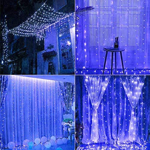 Arcoiris Cortina de Luces LED, IP44 700LED Azul Exterior, Guirnalda de Luces...