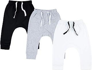 SOBOWO Newborn Baby Boy Girl 3-Pack Joggers Infant Baby Cotton Harem Pants for Unisex Boys Girls 0-24 Months