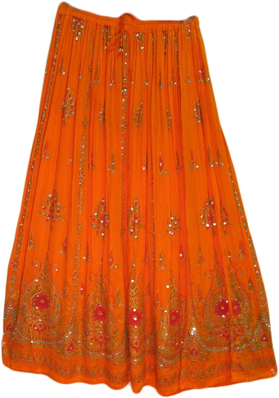 Yoga Trendz Womens Indian Sequin Crinkle Broomstick Gypsy Long Skirt (3 Piece)