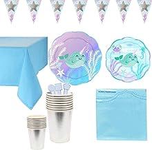 Blue Ocean Theme Narwhal Patroon Wegwerp Party Servies Kitchen Supplies Paper Products for Children's Verjaardag Tea Parti...