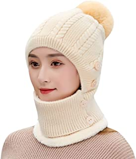 Women Winter Hat and Scarf Set - Solid Color Soft Button Thermal Knitted Scarf Woolen Hat Beanie with Pompom