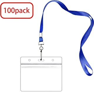 100 Pack Badge Holders with Lanyards, Waterproof Horizontal Name Tag ID Card Holders, Plastic Badge Holder, ID Holder and Lanyards Set (Blue, 100 Pack)